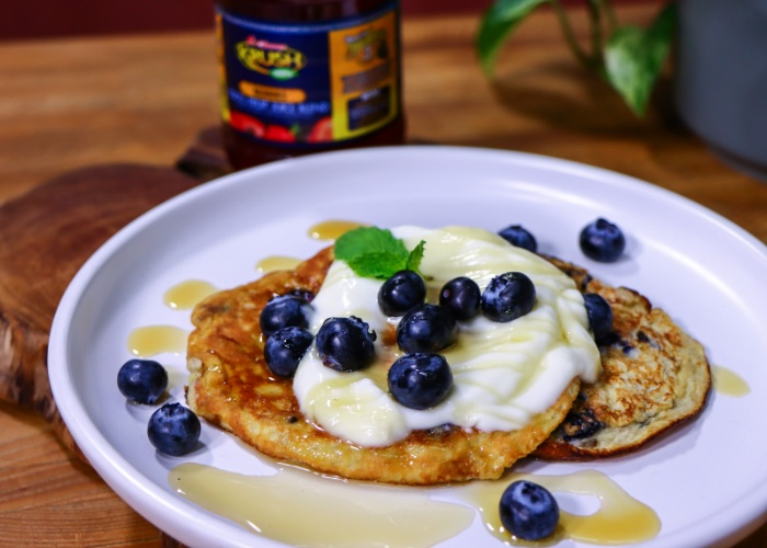 Clover Krush Banana blueberry pancakes